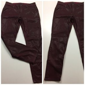 LEVEL 99 Anthropologie Burgundy Coated Skinny Jean